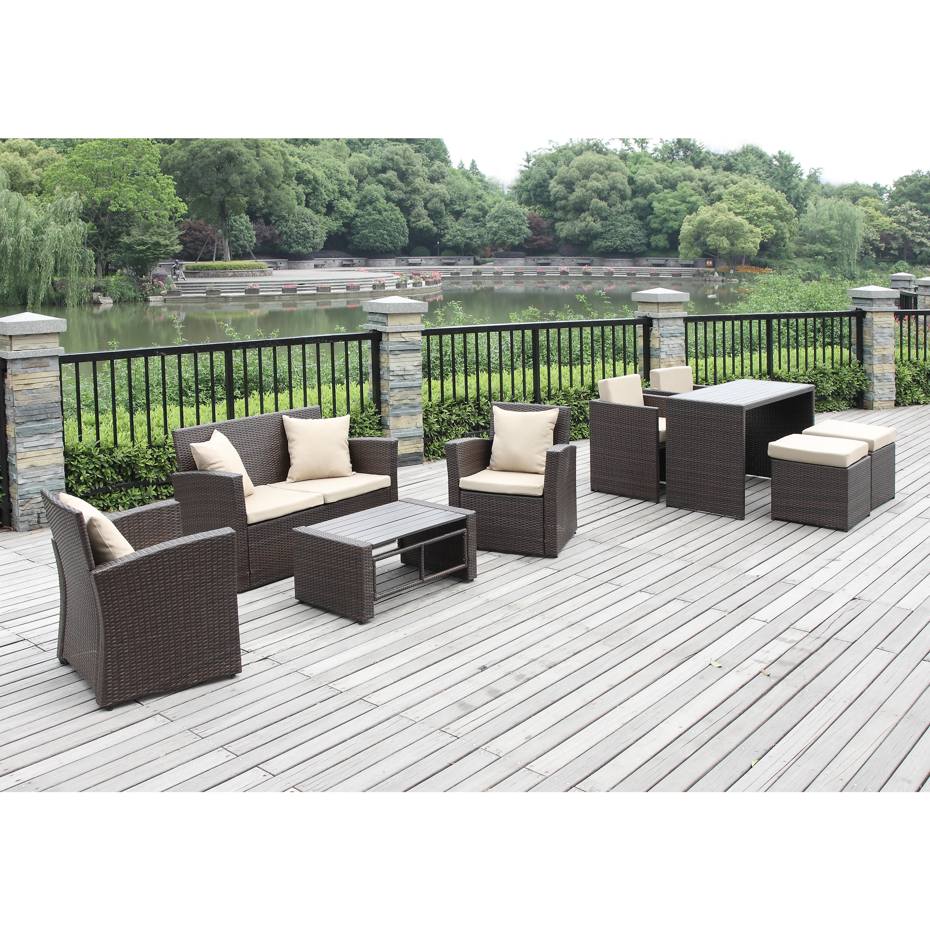 patio furniture set conversation dining table lounge 9 piece deck