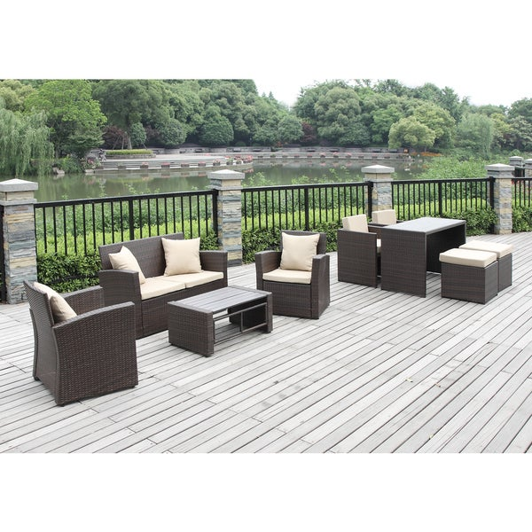 Valley cream wicker 9 piece indooroutdoor living dining room set
