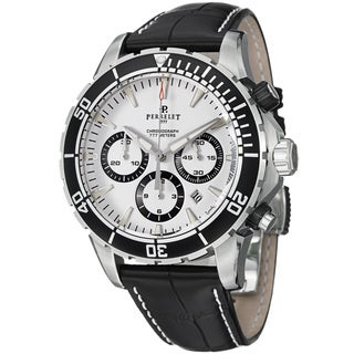 Perrelet Men's A1054/1 'Seacraft' White Dial Leather Strap Automatic Watch