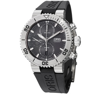 Oris Men's 'Divers' Grey Dial Black Rubber Strap Swiss Automatic Watch