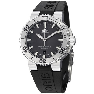 Oris Men's 'Divers' Grey Dial Black Rubber Strap Automatic Watch