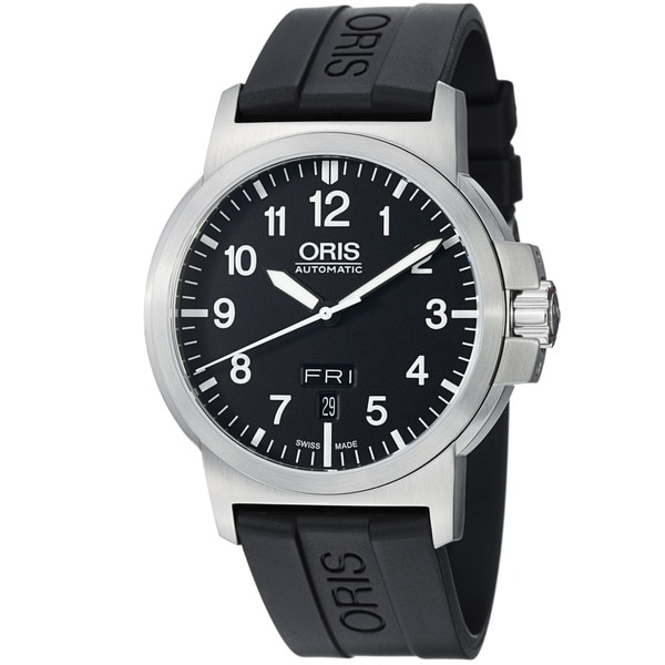 Oris Men's 'BC3' Black Dial Black Rubber Strap Automatic Watch