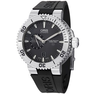 Oris Men's 'TT1 Diver' Grey Dial Titanium Black Rubber Strap Watch