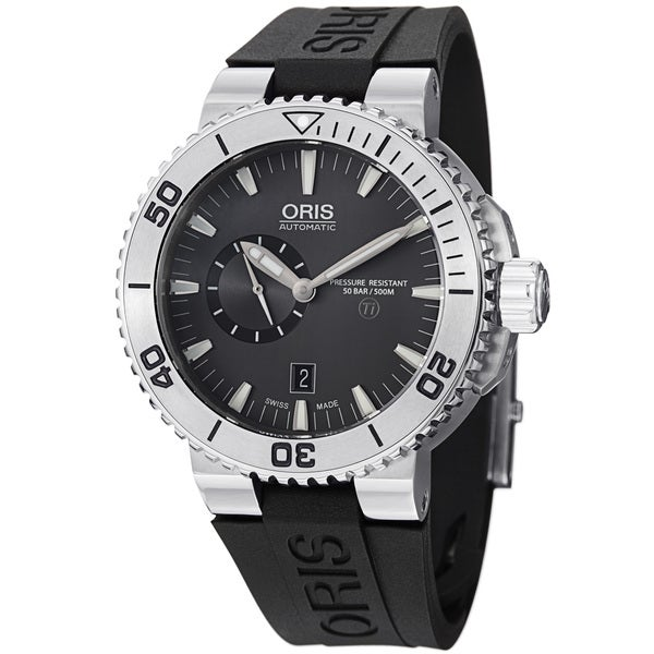 Oris Men's 743 7664 7253 RS 'TT1 Diver' Grey Dial Titanium Black Rubber Strap Watch