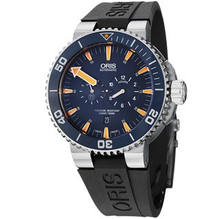 Oris Men's 749 7663 7185 RS 'Aquis' Blue Dial Black Rubber Strap Watch