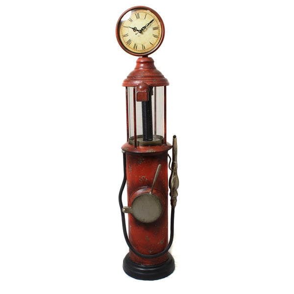Departures Antique Gas Pump Decorative Clock