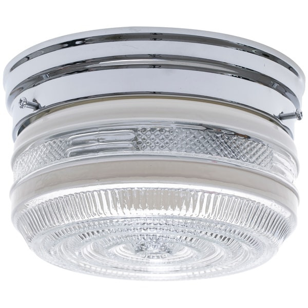 1-Light Chrome Clear Glass Flush Mount