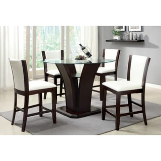 Carlise Contemporary Round Counter Height Glass 5-piece Dining Set