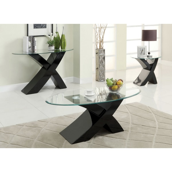 Of America Cass 3 Piece Modern Accent Sofa Coffee End Table Set