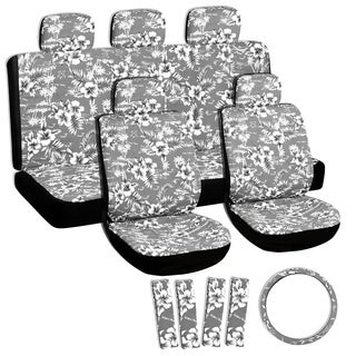 Floral Grey/ Black 11-piece Seat Cover Set