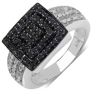 Sterling Silver 1/2ct TDW Black and White Diamond Ring (I-J, I3)