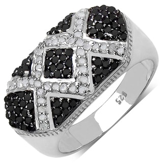 Sterling Silver 5/8ct TDW Black and White Diamond Ring (I-J, I3)