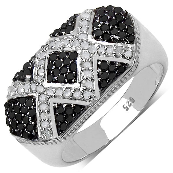 Sterling Silver 5/8ct TDW Black and White Diamond Ring (I-J, I3)