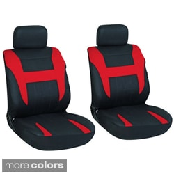 Oxgord 4-Piece Two-Toned Cloth Seat Cover Set for Two Automotive Front Chairs