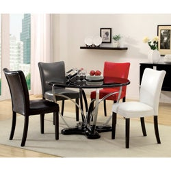 Relliza 5-Piece Contemporary Black Finish High Gloss Lacquer Dining Set
