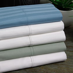 Cotton Sateen 300 Thread Count Striped 6-piece Sheet Set