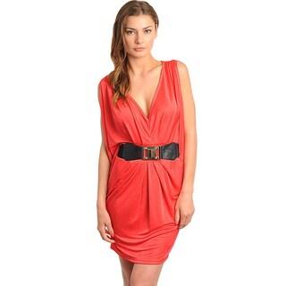 Stanzino Women's Sleeveless V-neck Belted Dress