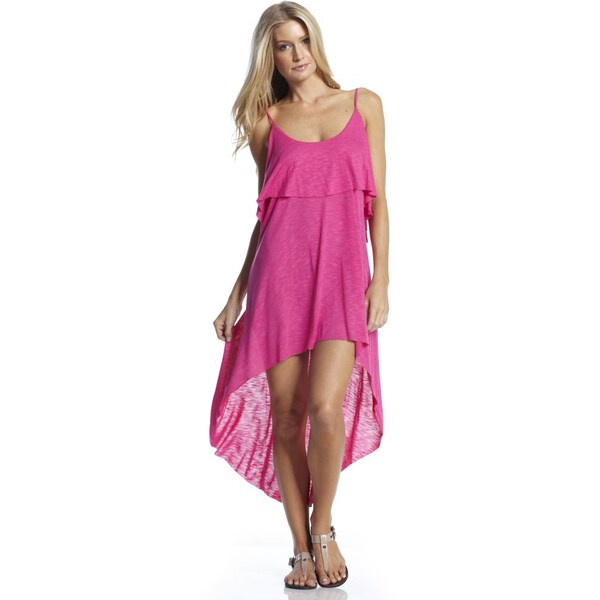 Elan Women's Layered Maxi High-Low Dress with Spaghetti Straps