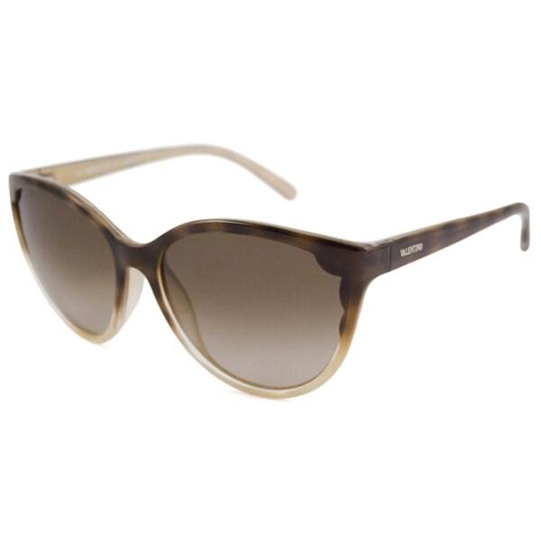Valentino Women's V607S Cat-Eye Havana Gold/Brown Sunglasses