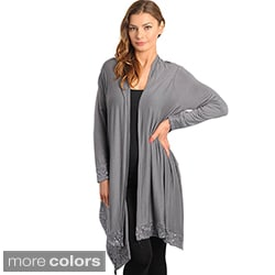 Stanzino Women's Sequin Detailed Asymmetric Hem Cardigan