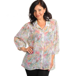 Stanzino Women's Plus Size Floral Print Quarter Sleeve Chiffon Top