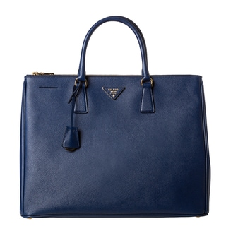 Prada 'Lux' Large Blue Saffiano Leather Top Handle Tote