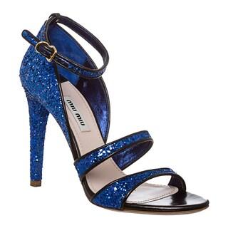 Miu Miu Women's Blue Glitter Stiletto Sandals