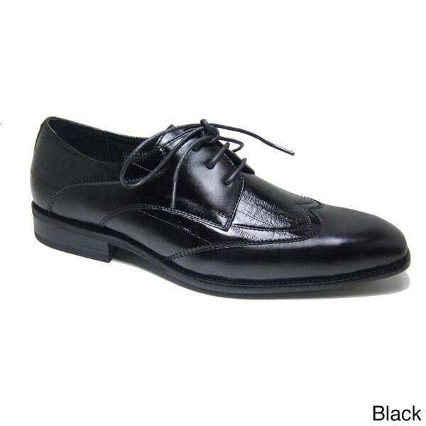Delli Aldo Men's Patent Leatherette Wing Tip Designer Shoes
