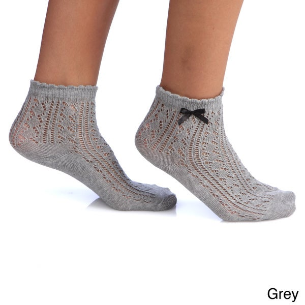 Women's Ribbon Top Quarter Socks (One size)