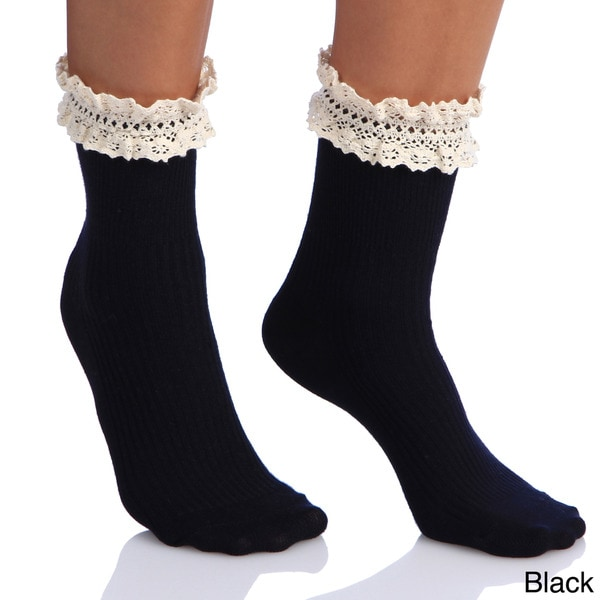 Women's Lace Top Ankle Socks (One Size)