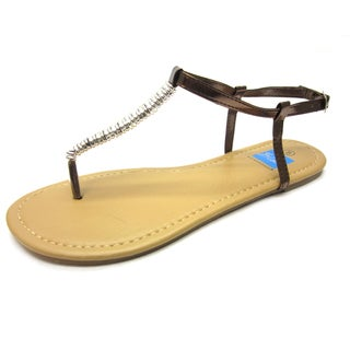 Blue Women's 'Debbie-Buckle' Synthetic Leather Sandals