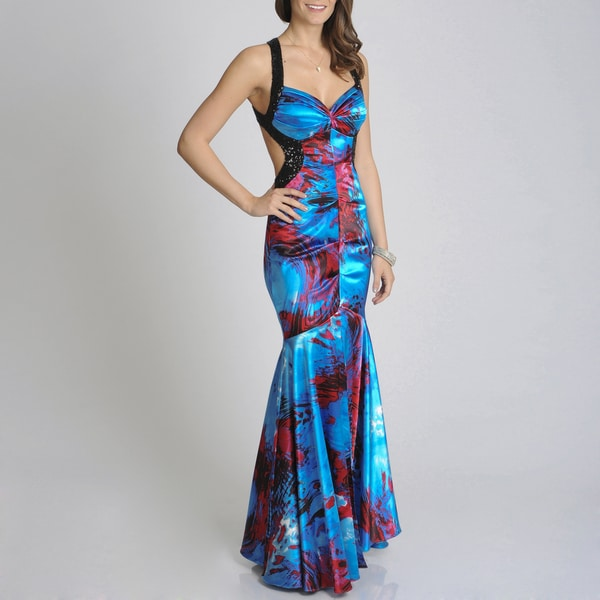 Blondie Nites Junior's Abstract Print Low-back Sleeveless Gown
