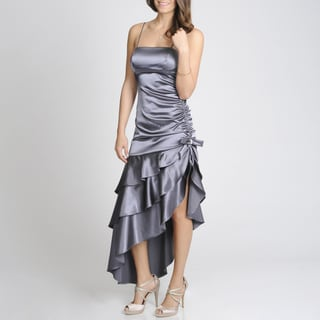 Blondie Nites Junior's Steel Asymmetrical Tiered Party Dress