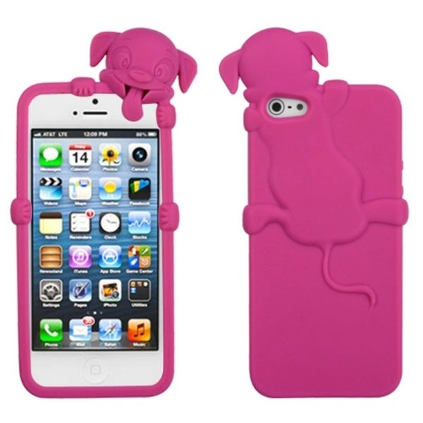 INSTEN Peeking Hot Pink Dog Phone Case Cover for Apple iPhone 5