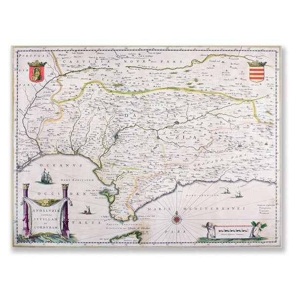 'Map of Andalusia, Spain' Canvas Art