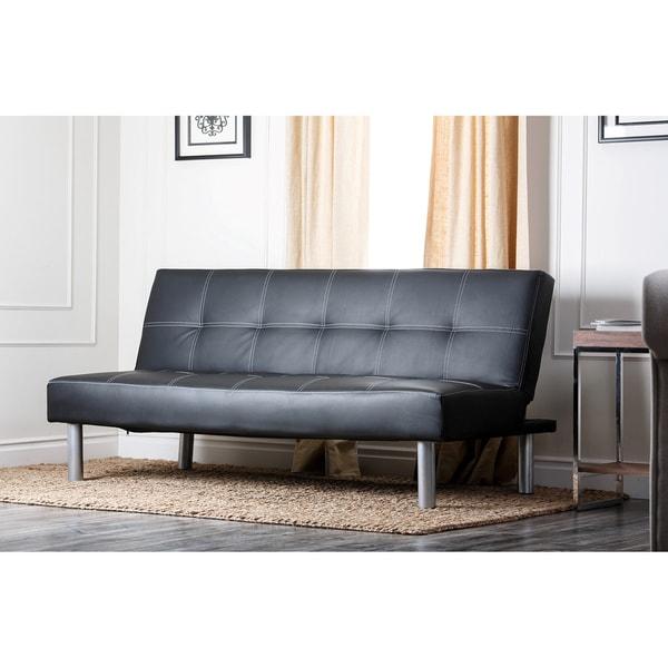 Abbyson Living Medina Black Convertible Sleeper Futon Sofa
