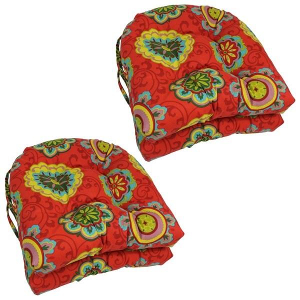 Blazing Needles U-shaped Outdoor Chair Cushions (Set of 4)