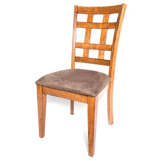 Solid Hardwood Grideback Brown Dining Chair (Set of 2)