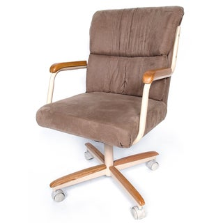 Casual Dining Brown Cushion Wood Metal Rolling Caster Chair