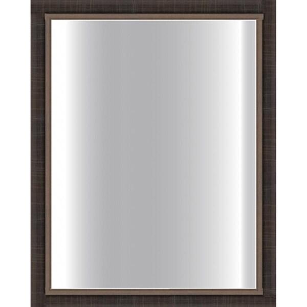 Dark Scratched Bronze Framed Glass Mirror