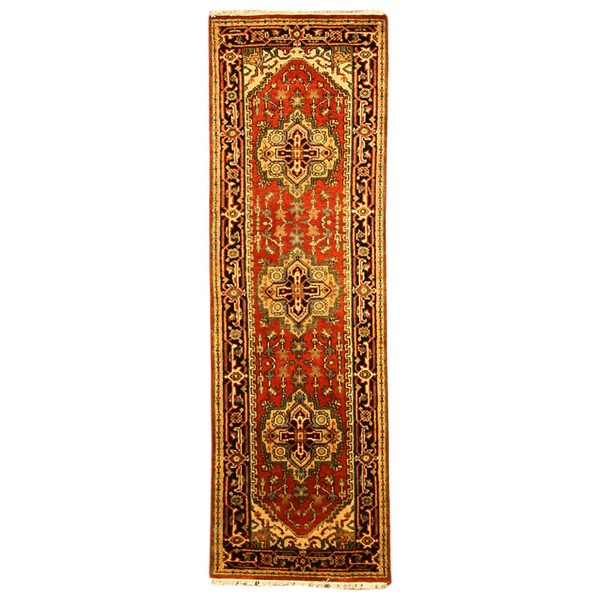 EORC Hand Knotted Wool Rust Serapi Rug (2'6 x 12')