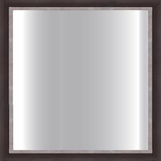 Dark Brown Framed Square 24-inch Glass Mirror