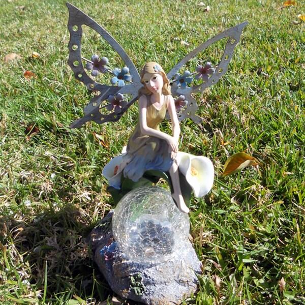 Solar Angel Fairy Sitting On Calla Lilies Glass Crackle