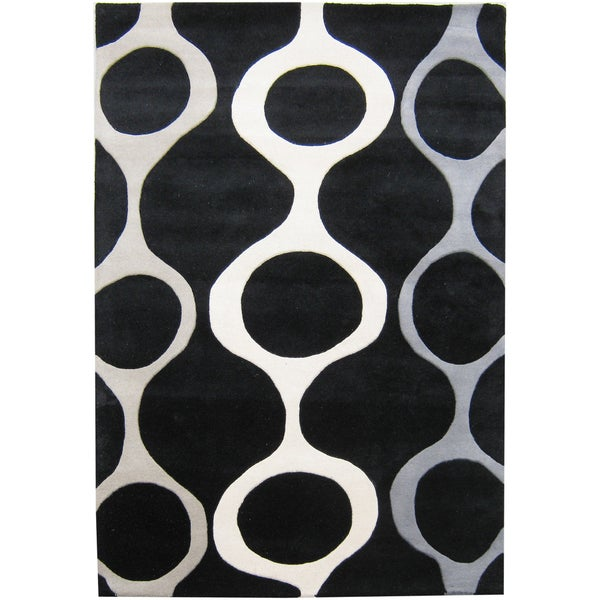 Alliyah Handmade Black New Zealand Blended Wool Rug (9' x 12')