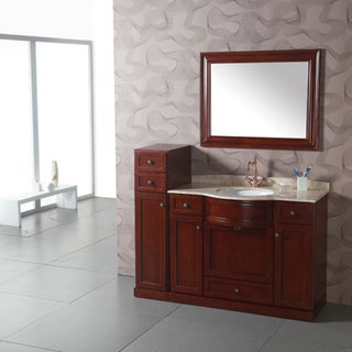 Marble top 43 5 inch single sink bathroom vanity with side cabinet and matching mirror for Bathroom vanity with matching cabinet