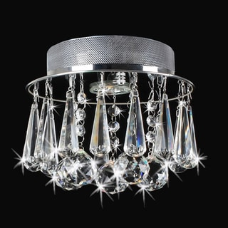 Catherine Chrome Flush Mount with Glamorous Crystals Chandelier