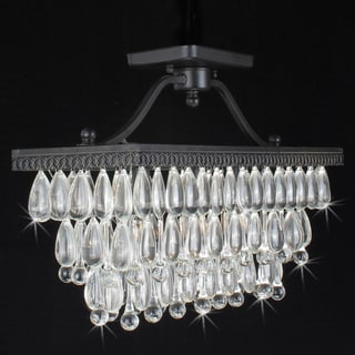 Crystal Glass Drop Antique Copper Flush Mount Chandelier