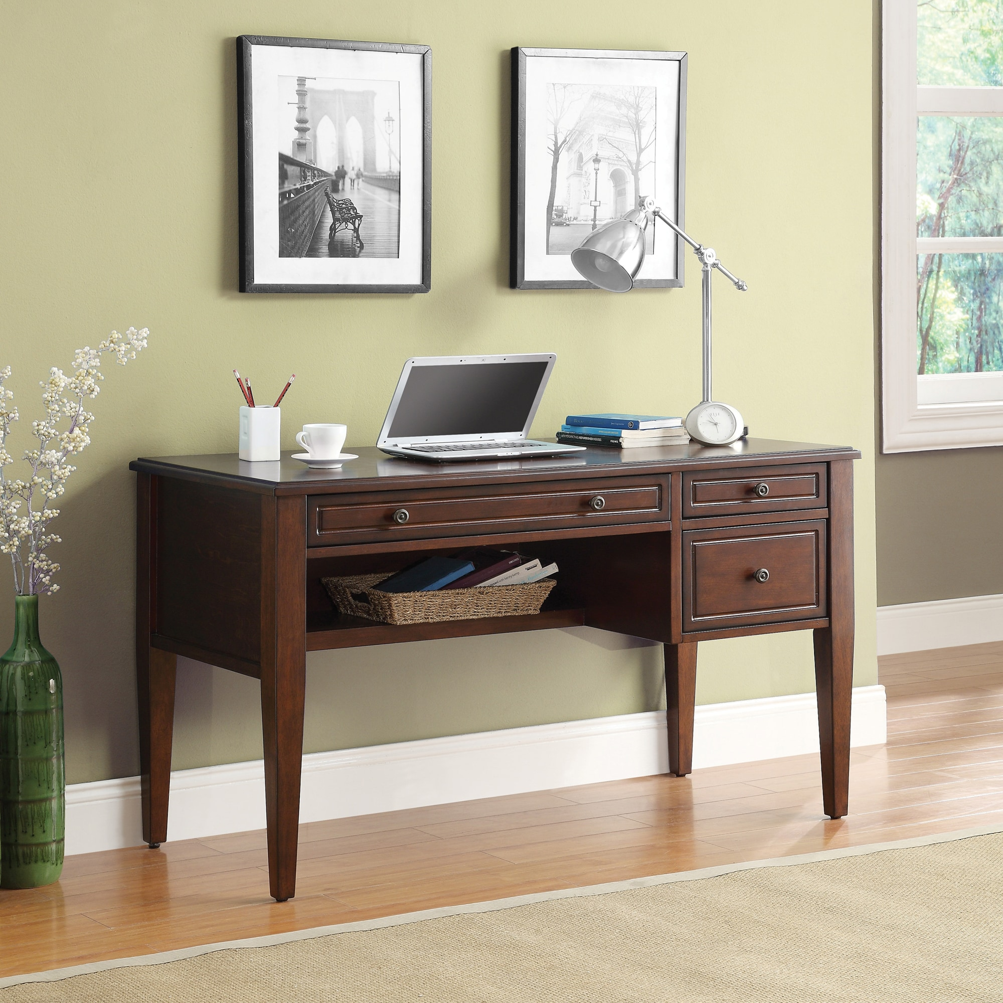 Very Impressive portraiture of Writing Desk with pullout keyboard drawer and multi use storage drawer  with #8E663D color and 2000x2000 pixels