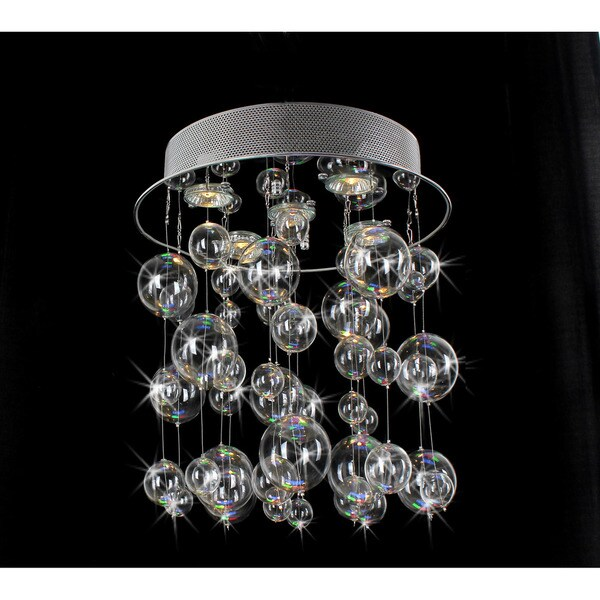 Chrome Ceiling Mount Chandelier with Hand Blown Bubble Glasses 10956129