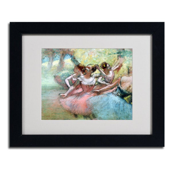 Edgar Degas 'Four Ballerinas on the Stage' Matted Giclee Print Framed Art